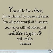 You Will Be Like a Tree Psalm 1:3 Wall Decal Bible Scripture Saying Wall Quotes