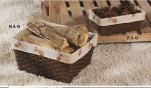 Signature Homestyles caddy liner basket lining pinecone fall winter fits 13x7x5