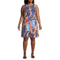 MSK Women's Plus Size Paisley Sleeveless Soft Knit Multi Color Shift Dress 2X