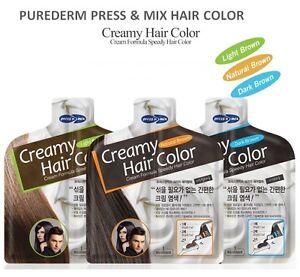 PUREDERM PRESS & MIX Creamy Hair Color Set 3 Color Simple 10 Min DIY Cover Gray