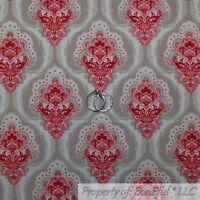 BonEful Fabric FQ Cotton Quilt VTG Cream Pink Maroon Flower Damask Shabby Chic L