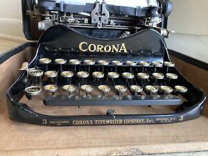 Vintage PATENTED 1917 Corona No.3 Folding Typewriter in Original Case - WORKS