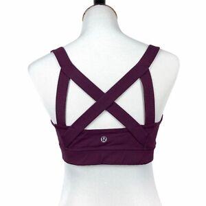 Lululemon Womens Cross My Heart Sports Bra Size 10 Plum Strappy Yoga