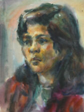 Vintage impressionist portrait watercolor painting woman  FREE SHIPPING