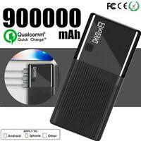Power Bank 900000mAh Portable Charger 3USB External Backup Battery Fast Charging