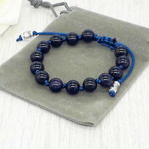 Handmade Adjustable Blue Sandstone Gemstone Cord Bracelet & Velvet Pouch. 6/8mm.