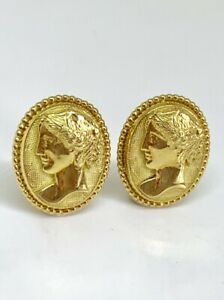 Mauboussin Paris 18k Yellow Gold Vintage Cameo Earrings