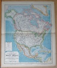 1883  ANTIQUE MAP STATISTICAL MAP OF NORTH AMERICA CANADA USA MEXICO