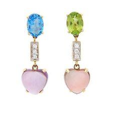 6.50ctw Diamond, Amethyst,Garnet, Peridot & Topaz Solid 14k Yellow Gold Earrings