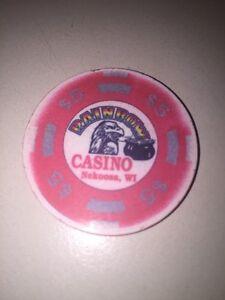 RAINBOW CASINO NEKOOSA WI Casino CHIP $5.00 Eagle Pot Of Gold Obsolete 5 Dollars