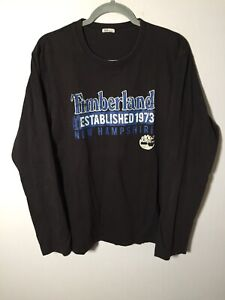 Timberland mens black long sleeve t shirt size L cotton graphic print good condt