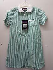 GirlsGREEN & WHITE StripeSchool Summer Dress LARGE size 38 Age 15/16 .
