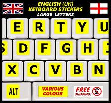 English Keyboard Stickers LARGE BIG Letters Poor Eyesight Children Computer YE +