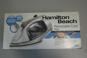 Hamilton Beach Retractable Cord Steam Iron Chrome Self Clean 14881 (1A)