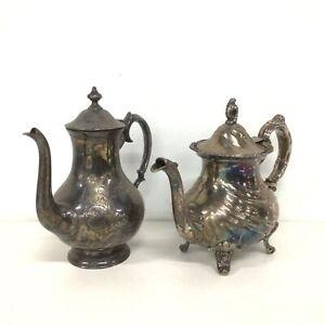 Vintage Assorted Coffee/Tea Pots 2 Pieces Metal #413