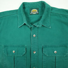 Distressed Cabelas Chamois Flannel Work Shirt Mens XL Nicely Faded Green Chore