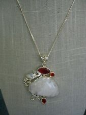 "Pendant on 18"" Silver Tone Chain Moonstone and Red Glass Silver Tone"