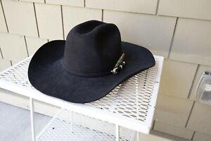 Serratelli USA Long Oval Hat 7 3/8 Rodeo Cowboy Western Black Silver Buckle Band