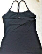 LULULEMON Power Y Tank Top Solid Black w White Stitching & Shelf Bra size 4 Yoga