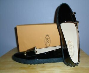 NEW with box Tod's Gommino Black Patent leather Loafers, Size 39