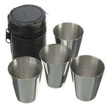 Set of 4 Stainless Steel Cup Mug Drinking Coffee Tea Tumbler Camping Travel LJ