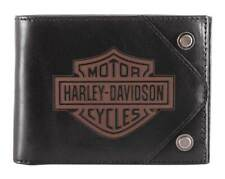 Harley-Davidson Men's Lasered B&S Bi-Fold Leather Wallet w/ RFID HDMWA11486