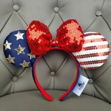 New listing Disney Parks Bow Minnie Ears Stars American Flag Sequins Mickey Mouse Headband