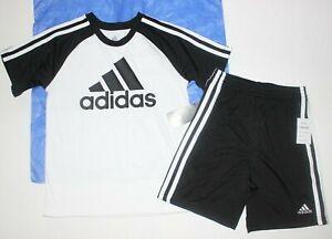 Boys sz 6 Adidas 2 pc set T-shirt Shorts Black + White New $36