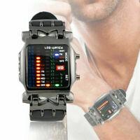 Luxus herren Edelstahl Uhr LED Sport Datum Digitale Armbanduhren Armband S2E3