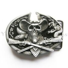Skull Cowboy Rifles Western Metal Fashion Belt Buckle