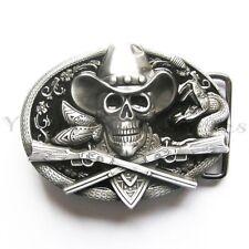 Skull Cowboy Rifles Western Metal Fashion Belt Buckle
