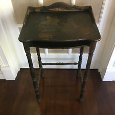Antique Art Deco Chinoiserie Asian Black Telephone Table Stand Side Table