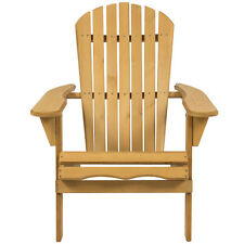Outdoor Folding Natural Finish Hemlock Wood Adirondack Chair Lawn Yard Furniture