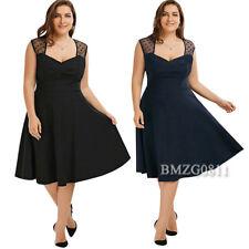 Damen Spitzenkleid Midikleid Knielang Kleid Party Abendkleider Ballkleid GR42-52