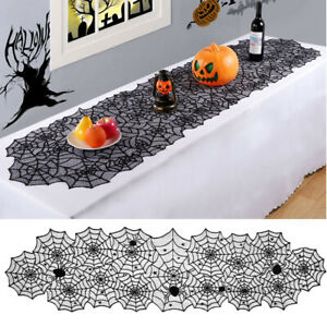 """18""""x72"""" Halloween Spider Web Table Runner Lace Tablecloth Cover Party Decor UK"""