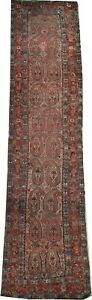 Antique handmade wool P'ersian Qashqai runner rug Tribal runner rug 13.9' x 3'