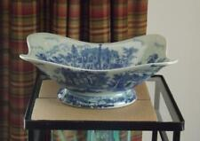 """Victoria Ware Blue & White Ironstone Footed Bowl MINT 12.5x10x5"""" Tall"""