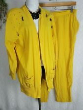 Vintage 80s Yellow Grandma Outfit nautical summer open front top joggers set