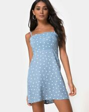 MOTEL ROCKS Boyasly Slip Dress in Polka Blue M Medium    (mr7)