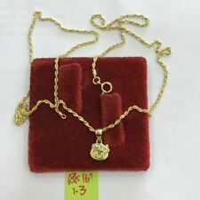 Gold Authentic 18k saudi gold necklace with head hellokitty pendant,,16inches,,