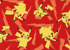 FAT QUARTER POKEMON 100% COTTON FABRIC PIKACHU QUILTING SQUARE POCKET MONSTER FQ