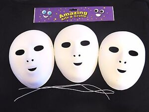 Fancy Dress Face Masks to Paint and Decorate Pack of 3 Flock Finish Halloween