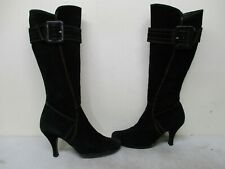 Carisma Italy Black Suede Leather Zip High Heel Fashion Boots Womens Size 7.5