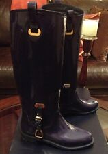 Ralph Lauren Womens Equestrian Rain Rubber Boots Blue Size 6B Made In Italy New