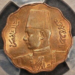 1943 (AH1362) Egypt 10 Milliemes Bronze Coin - PCGS MS 64 BN - KM# 361