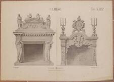 LITOGRAFIA ARCHITETTURA CAMINO CAMINI MODERNI FIREPLACE FIREPLACES ART 1890