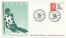 FIRST DAY COVER / PREMIER JOUR FRANCE / JEUX OLYMPIQUES ALBERVILLE 92 / SLALOM
