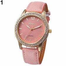 Ladies Fashion Geneva Quartz Gold Tone Rhinestone Pink Leather Band Wrist Watch.