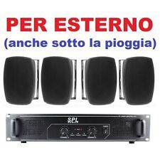 IMPIANTO AUDIO PER FILODIFFUSIONE LOCALI/PUB  4 casse x esterno + amplificatore