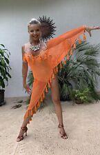 Tassel Fishnet Orange Latin Salsa Ballroom Rhythm Costume Women Dress XS-S US